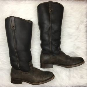 FRYE melissa button shearling boots chocolate